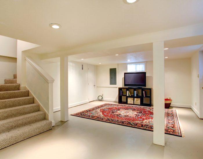 newly refinished basement